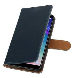 Pull Up Bookstyle voor Samsung Galaxy A6 2018 Blauw