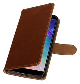 Pull Up Bookstyle voor Samsung Galaxy A6 2018 Bruin