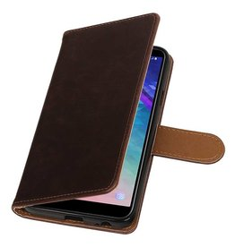 Pull Up Bookstyle voor Samsung Galaxy A6 2018 Mocca
