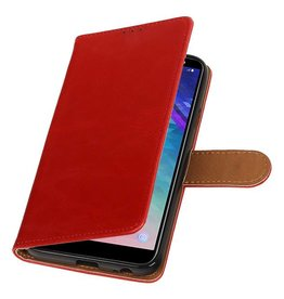 Pull Up Bookstyle voor Samsung Galaxy A6 2018 Rood
