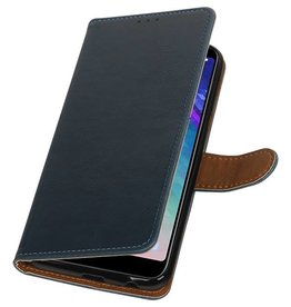 Pull Up Bookstyle voor Samsung Galaxy A6 Plus 2018 Blauw