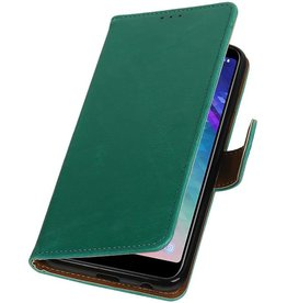 Pull Up Bookstyle voor Samsung Galaxy A6 Plus 2018 Groen