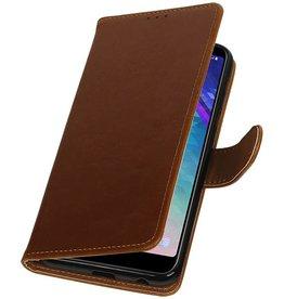Pull Up Bookstyle für Samsung Galaxy A6 Plus 2018 Braun
