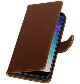 Pull Up Bookstyle voor Samsung Galaxy A6 Plus 2018 Bruin