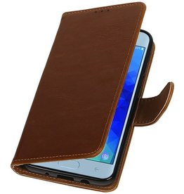 Pull Up Bookstyle for Samsung Galaxy J4 2018 Brown