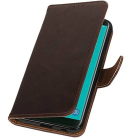 Pull Up Bookstyle voor Samsung Galaxy J6 2018 Mocca