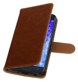 Pull Up Bookstyle for Samsung Galaxy J7 2018 Brown