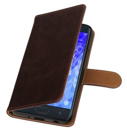 Pull Up Bookstyle for Samsung Galaxy J7 2018 Mocca