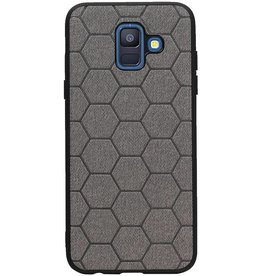 Hexagon Hard Case voor Samsung Galaxy A6 2018 Grijs