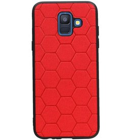 Hexagon Hard Case voor Samsung Galaxy A6 2018 Rood