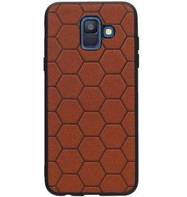 Hexagon Hard Case für Samsung Galaxy A6 2018 Braun
