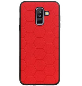 Hexagon Hard Case voor Samsung Galaxy A6 Plus 2018 Rood