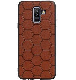 Hexagon Hard Case für Samsung Galaxy A6 Plus 2018 Braun