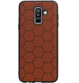 Hexagon Hard Case voor Samsung Galaxy A6 Plus 2018 Bruin