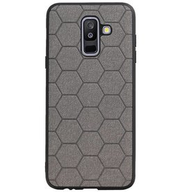 Hexagon Hard Case voor Samsung Galaxy A6 Plus 2018 Grijs