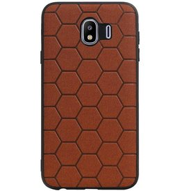 Hexagon Hard Case voor Samsung Galaxy J4 Bruin