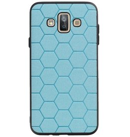 Hexagon Hard Case voor Samsung Galaxy J7 Duo Blauw