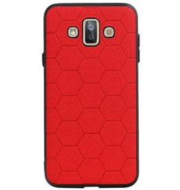 Hexagon Hard Case voor Samsung Galaxy J7 Duo Rood