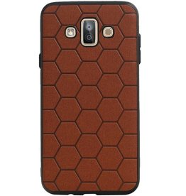 Hexagon Hard Case voor Samsung Galaxy J7 Duo Bruin