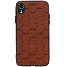 Hexagon Hard Case for iPhone XR Brown