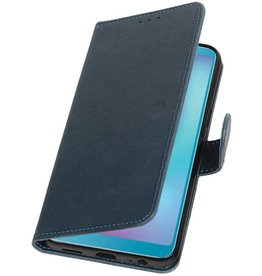 Pull Up Bookstyle voor Samsung Galaxy A6s Blauw