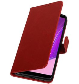 Pull Up Bookstyle voor Samsung Galaxy A9 2018 Rood