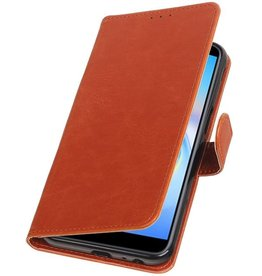 Pull Up Bookstyle voor Samsung Galaxy J6 Plus Bruin