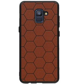 Hexagon Hard Case voor Samsung Galaxy A8 Plus 2018 Bruin
