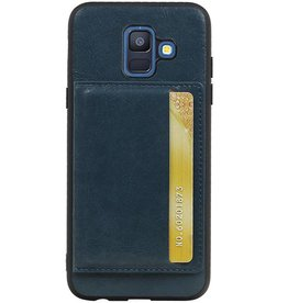 Staand Back Cover 1 Pasjes voor Galaxy A6 2018 Navy