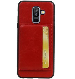 Staand Back Cover 1 Pasjes voor Galaxy A6 Plus 2018 Rood