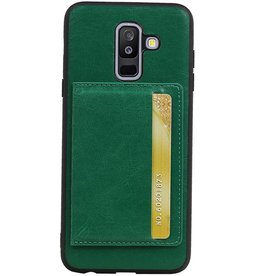 Staand Back Cover 1 Pasjes voor Galaxy A6 Plus 2018 Groen