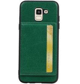 Staand Back Cover 1 Pasjes voor Galaxy J6 Groen