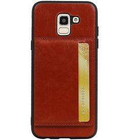 Staand Back Cover 1 Pasjes voor Galaxy J6 Bruin