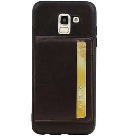 Staand Back Cover 1 Pasjes voor Galaxy J6 Mocca