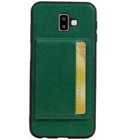 Staand Back Cover 1 Pasjes voor Galaxy J6 Plus Groen