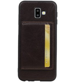 Staand Back Cover 1 Pasjes voor Galaxy J6 Plus Mocca