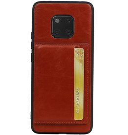 Staand Back Cover 1 Pasjes voor Huawei Mate 20 Pro Bruin
