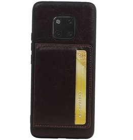 Staand Back Cover 1 Pasjes voor Huawei Mate 20 Pro Mocca