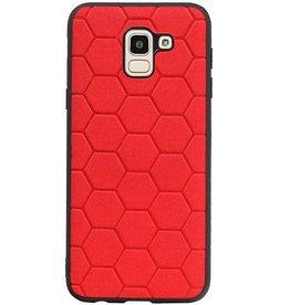Hexagon Hard Case für Samsung Galaxy J6 Rot