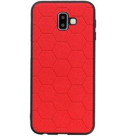 Hexagon Hard Case voor Samsung Galaxy J6 Plus Rood