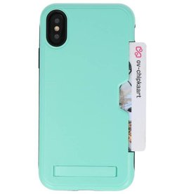 Tough Armor Card Holder Stand Case for iPhone XS Turquoise