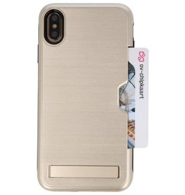 Tough Armor Card Holder Stand Case for iPhone XS Max Gold