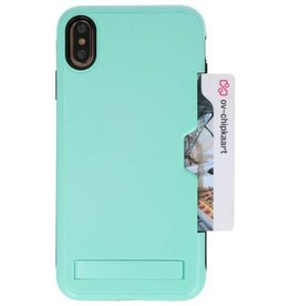 Tough Armor Card Holder Stand Case for iPhone XS Max Turquoise