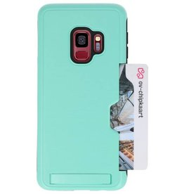 Tough Armor Kaarthouder Stand Hoesje voor Galaxy S9 Turquoise