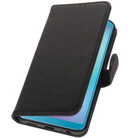 Echt Lederen Hoesje Wallet Case voor Samsung Galaxy A6s Zwart