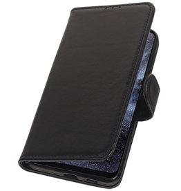 Echt Lederen Hoesje Wallet Case voor Samsung Galaxy A8s Zwart