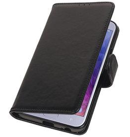 Genuine Leather Wallet Case for Samsung Galaxy J4 (2018) Black