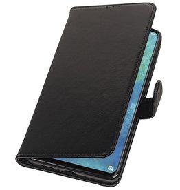 Echt Lederen Hoesje Wallet Case voor Huawei Mate 20 X Zwart