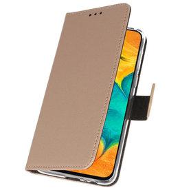 Wallet Cases Hoesje voor Samsung Galaxy A30 Goud