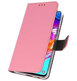 Wallet Cases Hülle für Samsung Galaxy A70 Pink